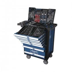 Scheppach TW 1000 profesionální kovový dílenský vozík, 7 zásuvek, 263 dílů