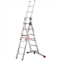Hliníkový třídílný žebřík ProfiLot combi (2 x 6 + 1 x 5 příček) 9306-501