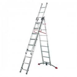 Hliníkový třídílný žebřík ProfiLot combi (2 x 9 + 1 x 8 příček) 9309-501