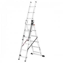 Hliníkový třídílný žebřík ProfiStep combi (3 x 6 příček) 7306-001