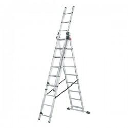 Hliníkový třídílný žebřík ProfiStep combi (3x9 příček) 7309-001