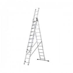 Hliníkový třídílný žebřík ProfiStep combi (3x12 příček) 7312-001