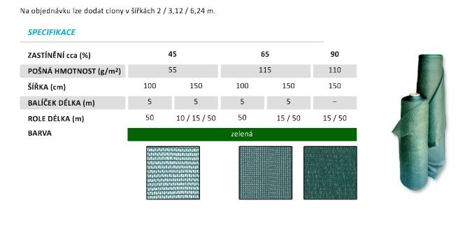 Zahradní clona 65% zastínění 1x50m
