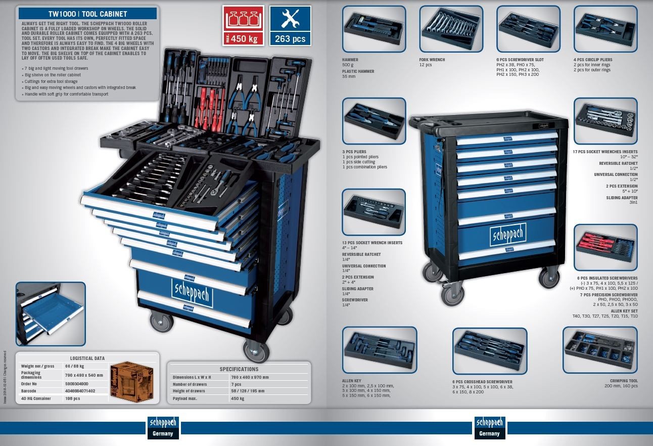 Scheppach Scheppach TW 1000 profesionální kovový dílenský vozík, 7 zásuvek, 263 dílů TW 1000, 590930