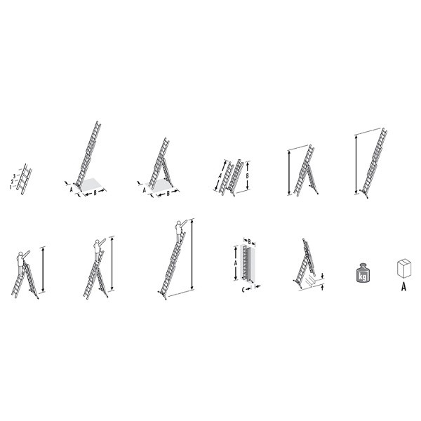 Hailo CZ Hliníkový třídílný žebřík ProfiLot combi (2 x 6 + 1 x 5 příček) 9306-501 9306-501